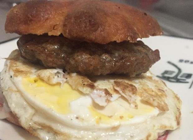 Keto Sausage, Egg & Chesse on a Fathead Roll